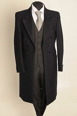 Mj-22 Mens Navy Herringbone Frock Coat 100% Wool Wedding/dress/suit Steampunk