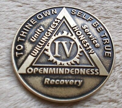 aa bronze alcoholics anonymous 4 year sobriety chip coin token medallion