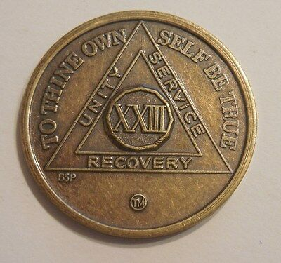 aa new alcoholic anonymous bronze 23 year recovery sobriety coin token medallion
