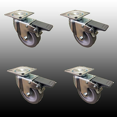 "*4 x 75mm (3"")  Swivel Castors with Brake. Catering Trolley/Workstation*"