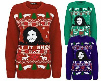 Unisex Knitted Game of Thrones Let It Snow Christmas Santa Xmas Jumper Sweater