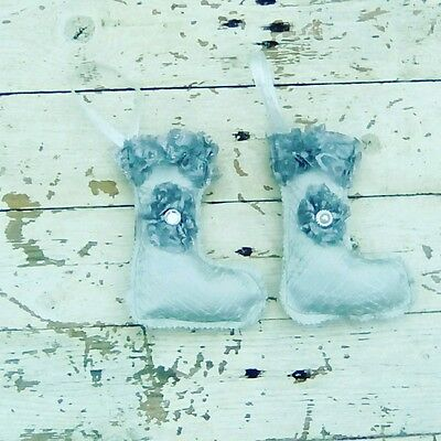 6 Silver Christmas  Stockings Tree Decorations Shabby Chic Vintage Style .