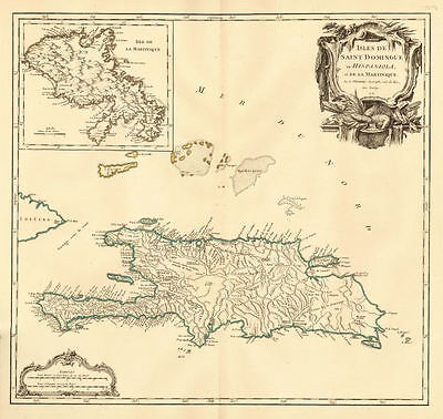'Saint Domingue ou Hispaniola et...Martinique'. Santo Domingo. VAUGONDY 1750 map