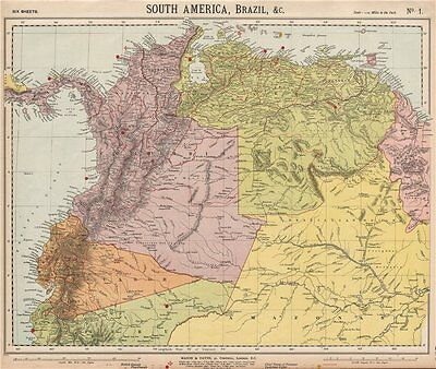 AMAZONIA & ANDEAN STATES. Colombia before separation of Panama. LETTS 1889 map