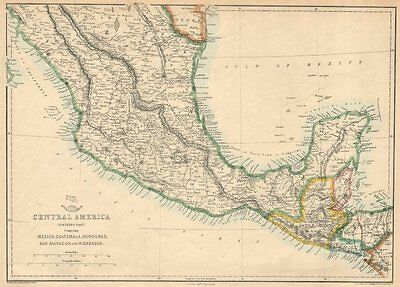 NORTHERN CENTRAL AMERICA. Mexico Belize Guatemala Honduras. ETTLING 1863 map