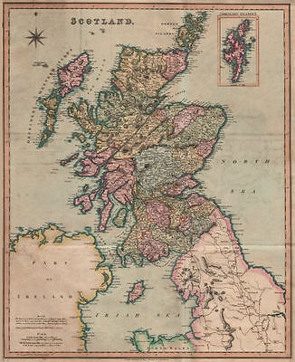 Antique map of Scotland by Henry Teesdale 1831 old plan chart