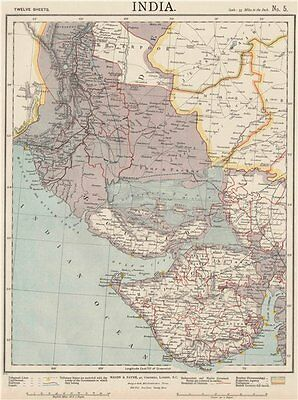 NW INDIA & S PAKISTAN. Sindh Gujarat Karachi Hyderabad. Railways. LETTS 1889 map