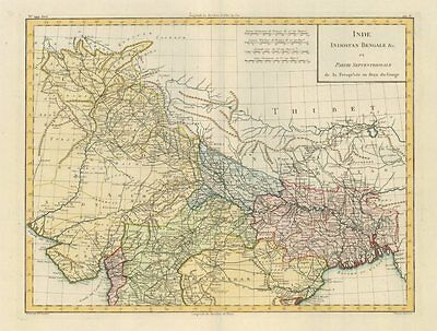 'Inde Indostan Bengale Partie Septentrionale' Mentelle/Chanlaire India c1795 map