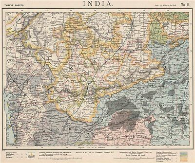 WEST BRITISH INDIA. Malwa Khandeish Berar Goondwana Bhopal. Railways 1889 map