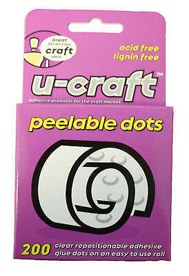 12 x U-Craft 10mm Peelable Removable Glue Adhesive Dots 200 per roll 201062