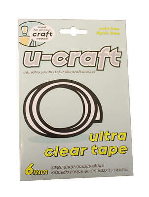 36 x U-Craft Ultra Clear Double Sided Adhesive Glue Tape Roll 6mm x 5m 201081