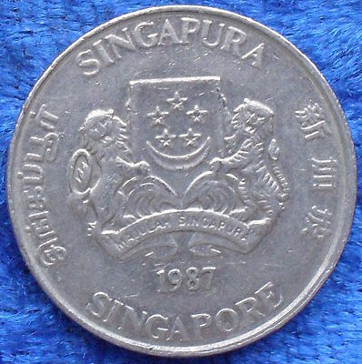 """SINGAPORE - 20 cents 1987 """"powder-puff plant"""" KM# 52 - Edelweiss Coins"""