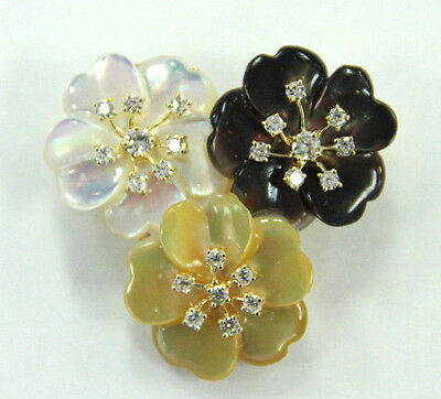 Estate Jewelry 14k and 18k Yellow Gold 3 color Pearl Flowers Brooch Pin