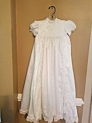 Christening Gown 0-6 White with Imported Lace