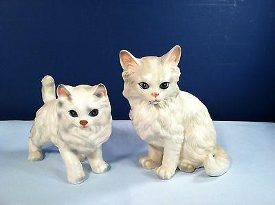 Pair Of Adorable Vintage  White Persian Blue Eyed Cats From Lefton Japan Euc