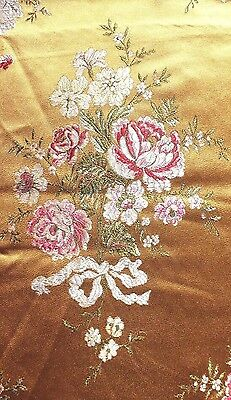 Stunning French Vintage Silky Satin Roses & Ribbons Brocaded Fabric c1940