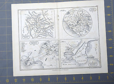 Ancient Rome and  Map Printed 1830 11x9 Inches Copper Plate