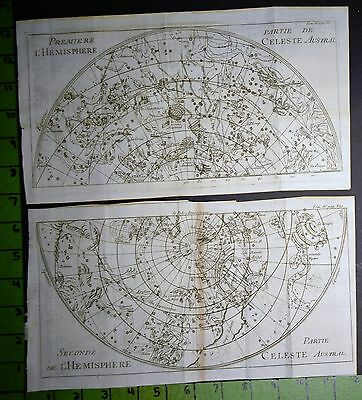 Antique Astronomy Engravings Lot of 2 Southern Hemisphere Printed 1739