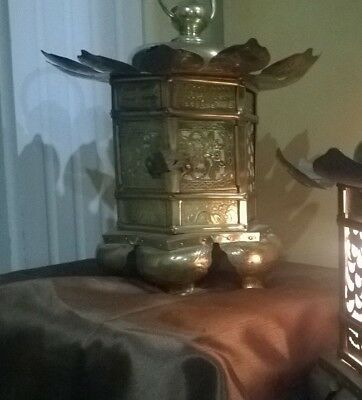 "VTG Japanese 15"" XL Brass Bronze Yoraku Buddhist Shojii Shrine Lanterns  TORO L"