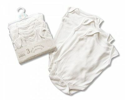 3 Pack White Cotton Sleeveless Vest Baby Bodysuit Unisex