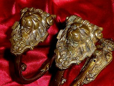 PAIR of antique bronze French Curtain ormolu Tie Backs Lion head
