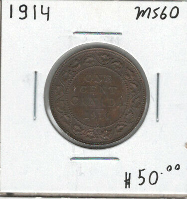 Canada 1914 Large 1 Cent MS60 Lustrous Brown