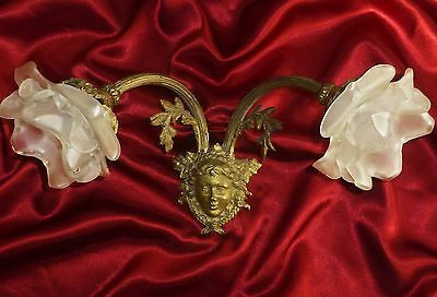 Antique French Timeworn Bronze/ Brass  Sconce Female Face & Frosted Shades.