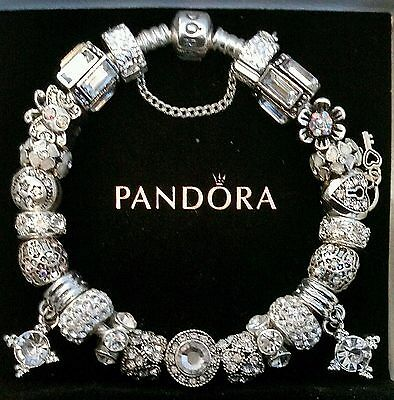AUTHENTIC PANDORA Sterling Silver CHARM BRACELET with European Beads Charms #40