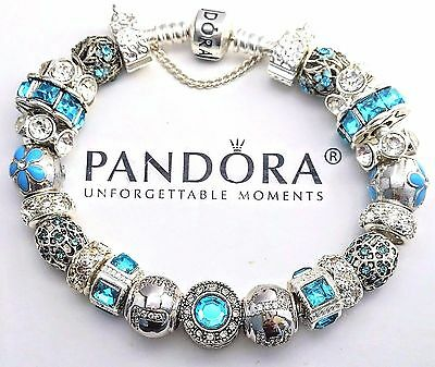 Authentic PANDORA Sterling Silver BRACELET with 21 European Beads & Charms #42