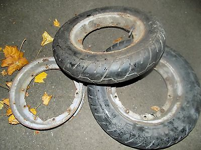 2 wheels with tyres for Vespa scooter, plus 1 wheel rim