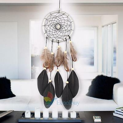 """17.72"""" Large Silver Net Feather Dream Catcher Bead Hanging Home Car Ornament Dec"""