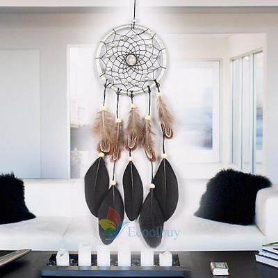 """Large 17.72"""" Black Net Feather Dream Catcher Bead Hanging Home Car Ornament A"""