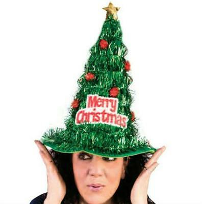Green Tinsel Christmas Tree Hat Adults Funny Xmas Comedy Accessory