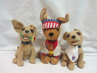 Lot Of 3 Taco Bell Talking Chihuahua  Dogs Plush Toys