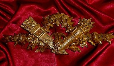 Antique French Carved Wood Gilded Furniture Pediment Decoration Mount