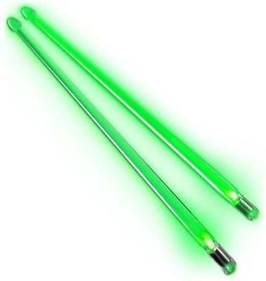 WarDrums Torch Acrylic Light Up Glowing Drum Stick Pair - Neon Green - NEW