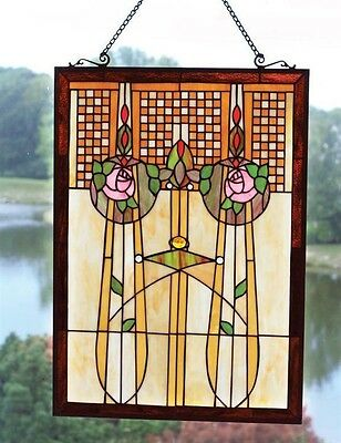 Victorian Trading Co Enchanted Rose Art Deco Stained Glass Window Hanging New