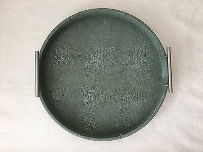 """Round Serving Tray in Green Faux Shagreen 18.0"""""""