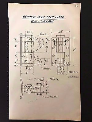 Harland & Wolff, Belfast, 1930's Eng. Drawing - DERRICK POST STEP-PLATE (P90)