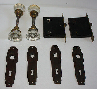 VINTAGE Set - 4 Yale Glass 12 pt Door Knobs Brass Art Deco Backs & Mortise Locks