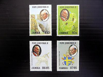 ZAMBIA 1989 Pope John Paul Visit (4) SG575/8 U/M NEW PRICE FP8410