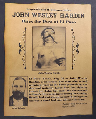 John Wesley Hardin Death Notice Poster, Western, Outlaw, Old West, Wanted