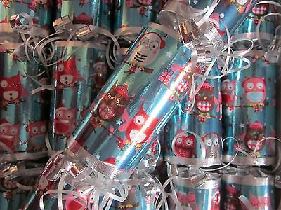 Luxury Handmade Owls Christmas Crackers Box Of 6