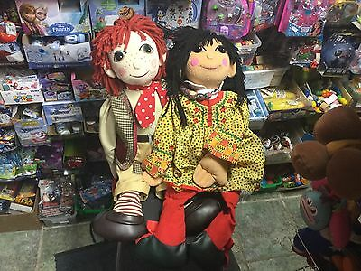 "LARGE PAIR 30"" ROSIE AND JIM RAGDOLLS DOLLS SOFT TOYS (no BAG or BOOK)"