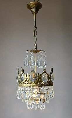 Petite Fixture Antique French Vintage Crystal Chandelier Lamp Lighting Lustre