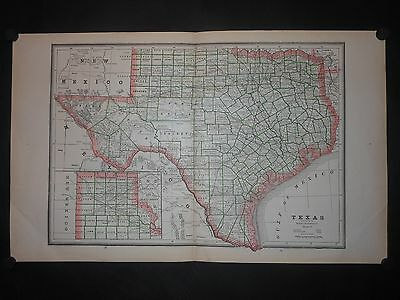 Texas c1885 Map Counties Railroads Old Forts Cities Towns by George Cram