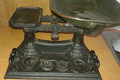 Antique ornate cast iron kitchen scales and weights