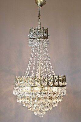 Chic Shabby Antique French Vintage Crystal Chandelier Lamp Georgian Old Lighting