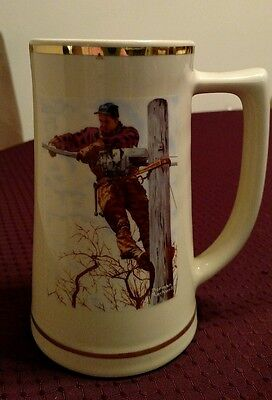 """Vtg Limited Edition Norman Rockwell """"Telephone Lineman"""" AT&T Stein/Mug #6442"""