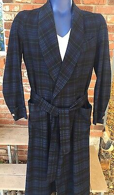 Vtg Mens PENDLETON Blue Wool Plaid ROBE Smoking JACKET Belted Wrap Around